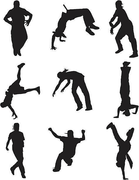 Breakdancer Silhouettes vector art illustration