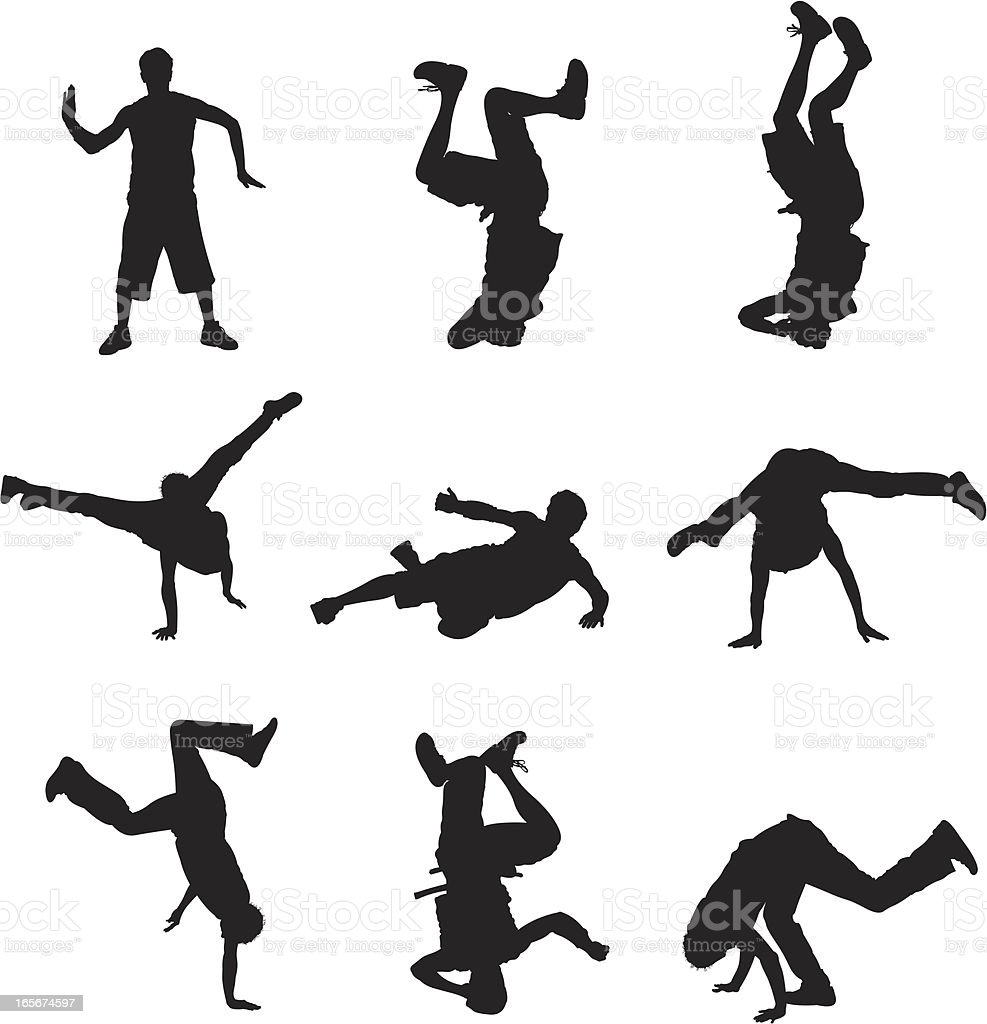 Breakdancers in action vector art illustration