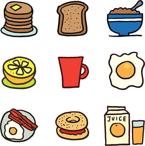 illustrations, cliparts, dessins animés et icônes de ensemble d'icônes et des céréales de petit déjeuner - infusion pamplemousse