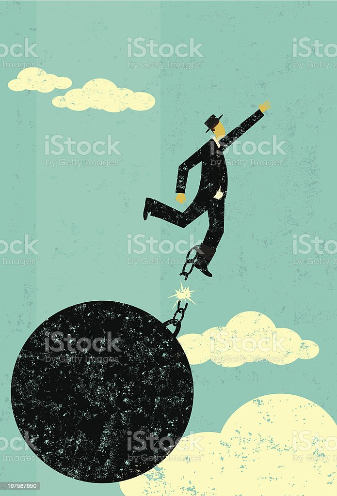 Breaking free of a ball and chain vector art illustration