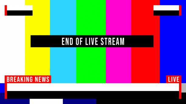 stockillustraties, clipart, cartoons en iconen met breaking news live stream test patroon - perskamer