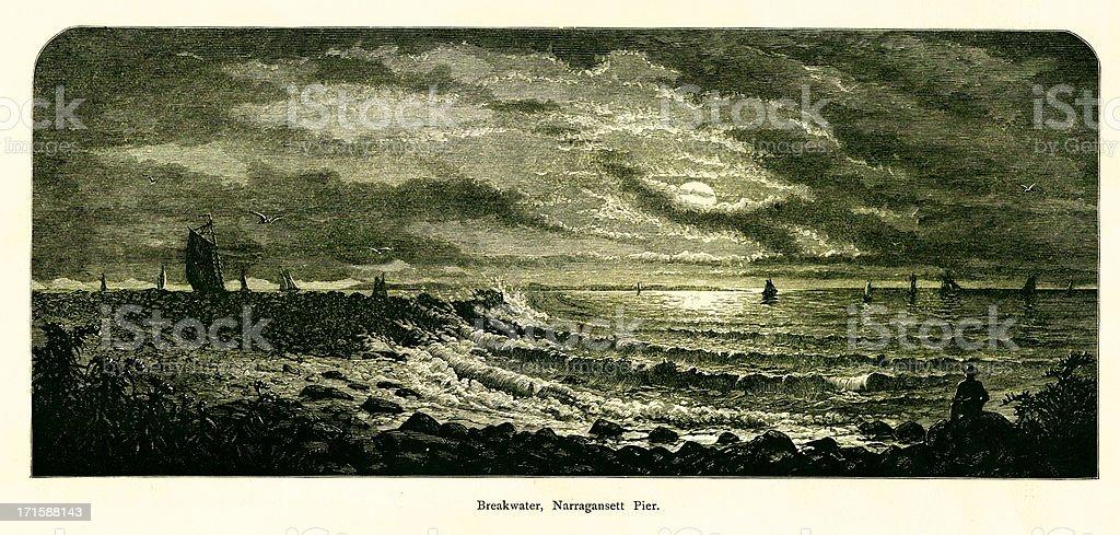 Breakwater, Narragansett Pier, Rhode Island royalty-free stock vector art