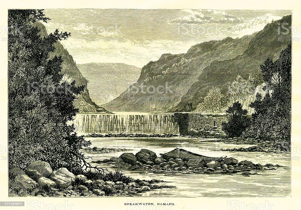 Breakwater on the Ramapo River, New Jersey vector art illustration