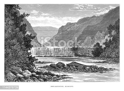 Very Rare, Beautifully Illustrated Antique Engraving of Breakwater on the Ramapo River, New Jersey, United States, American Victorian Engraving, 1872.