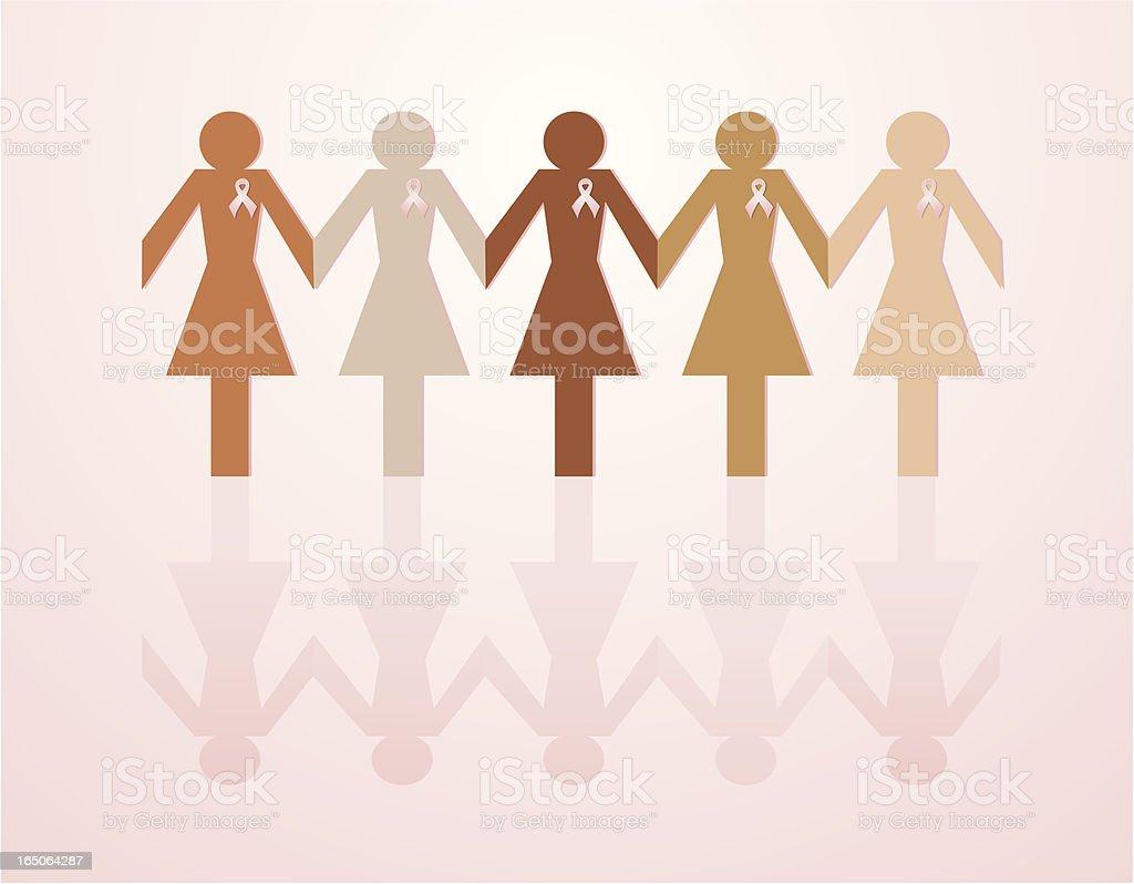 Breast Cancer Awareness Paper Chain vector art illustration