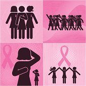 Icons of women taking action to raise breast cancer awareness