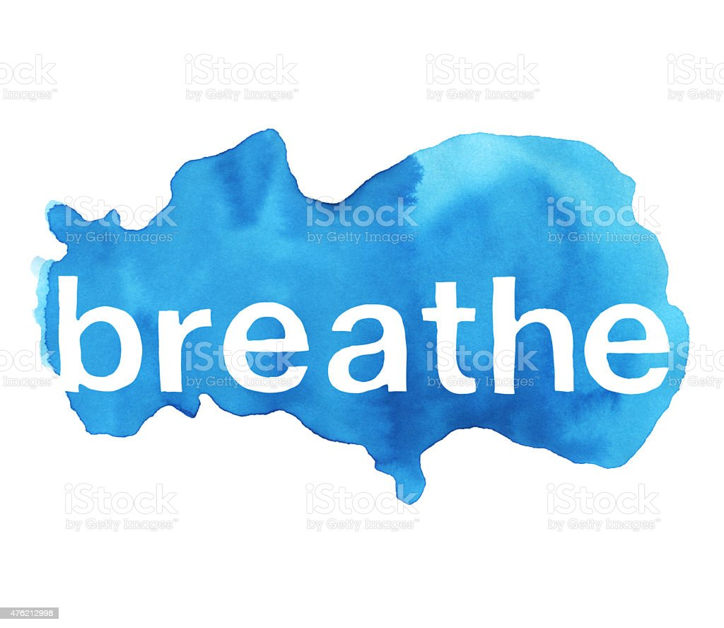 Breathe Word Over Cloud Blue Watercolor Texture Background vector art illustration