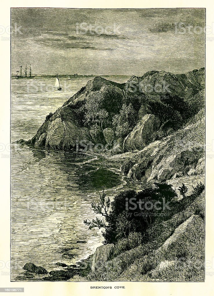 Brenton Cove, Newport, Rhode Island royalty-free brenton cove newport rhode island stock vector art & more images of 19th century