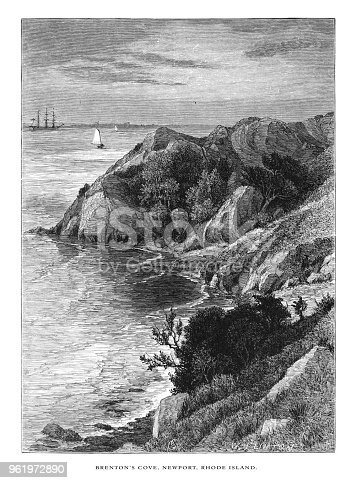 Very Rare, Beautifully Illustrated Antique Engraving of Brenton's Cove, Newport, Rhode Island, United States, American Victorian Engraving, 1872. Source: Original edition from my own archives. Copyright has expired on this artwork. Digitally restored.