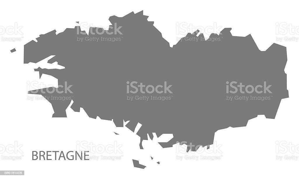 Bretagne France Map grey - Illustration vectorielle