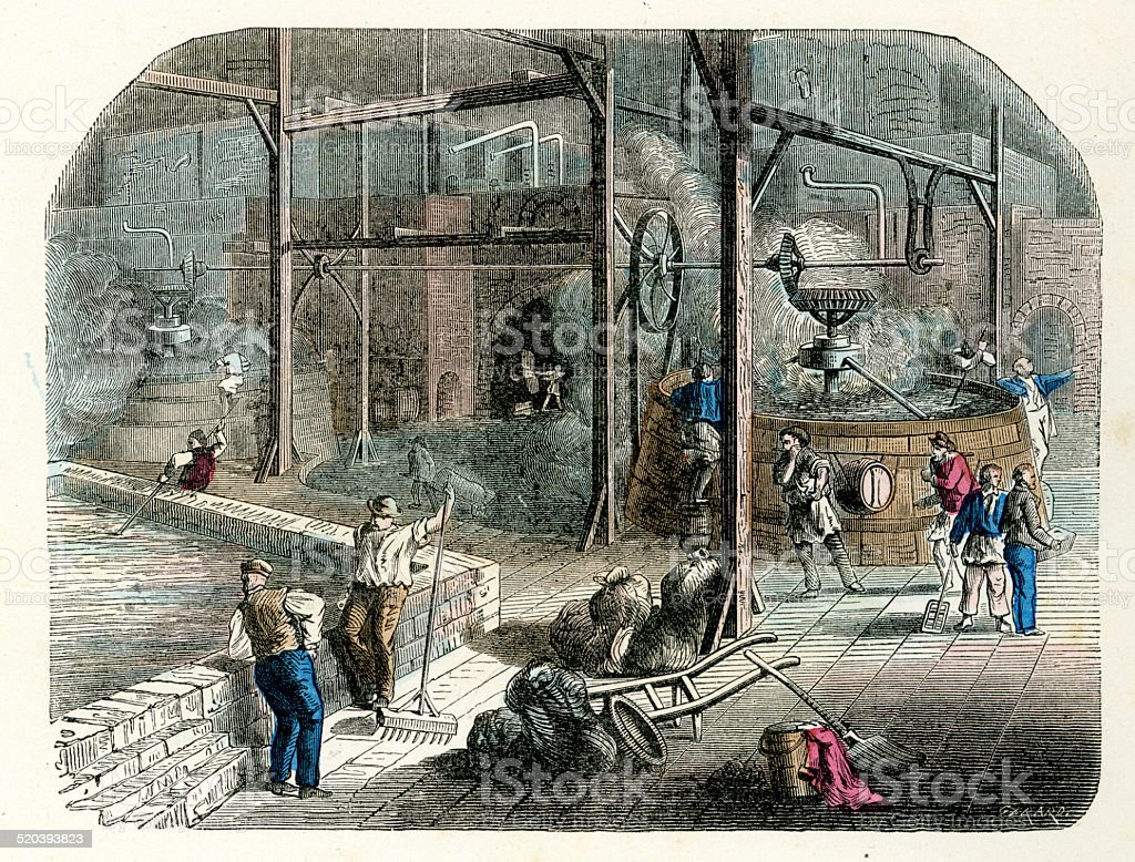 Brewing beer in the brewery 19th Century vector art illustration