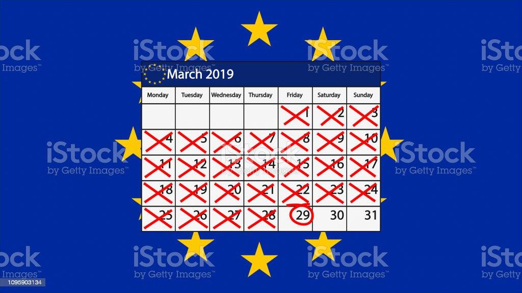 Brexit Calendar for March 2019 with EU flag vector art illustration