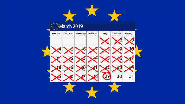 Brexit Calendar for March 2019 with EU flag A calendar with March 29 highlighted as the date of the UK leaving the EU johnfscott stock illustrations