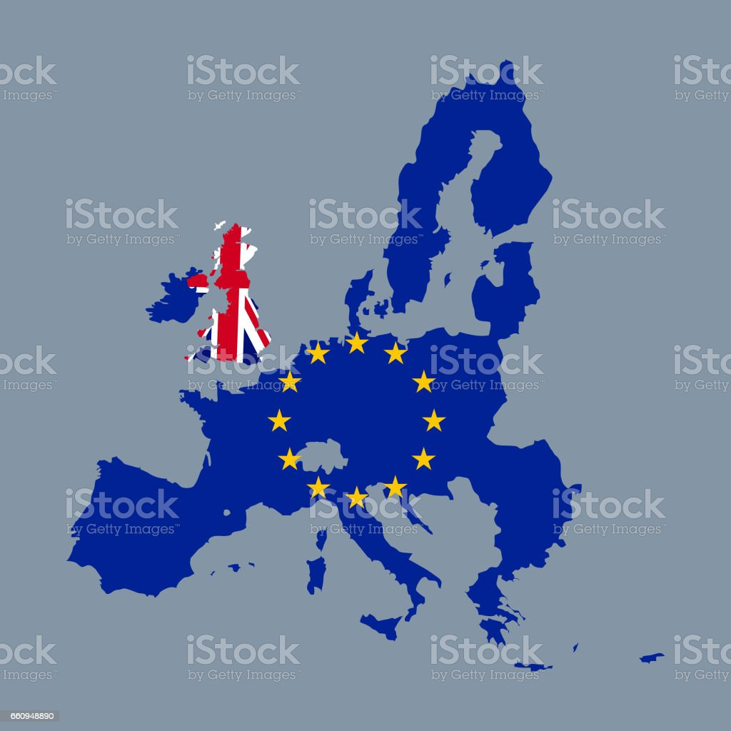Brexit European Union Map Coloured With The Eu Flag And The United ...