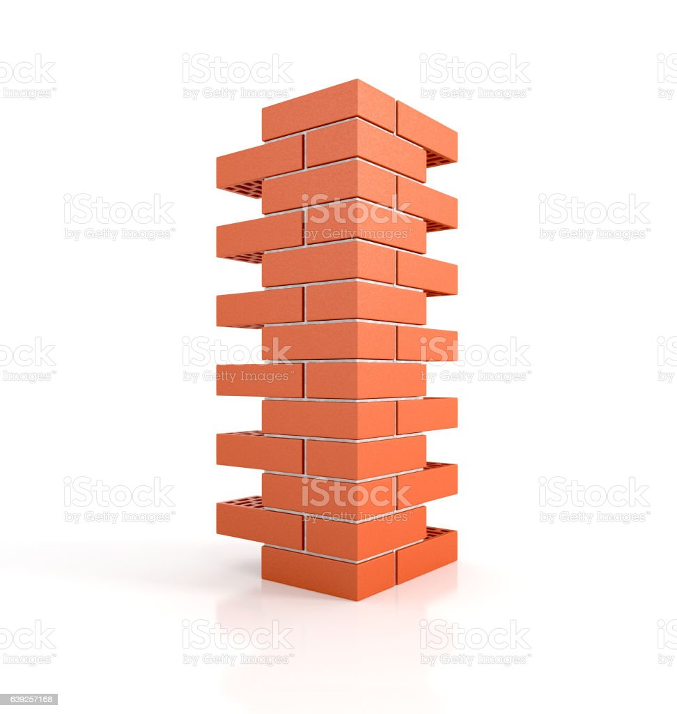 brick pillar. 3d illustration vector art illustration