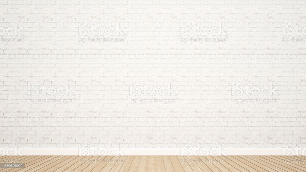 brick wall and wood floor in room for artwork vector art illustration