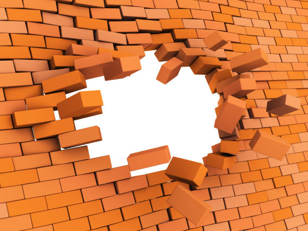 brick wall crash vector art illustration