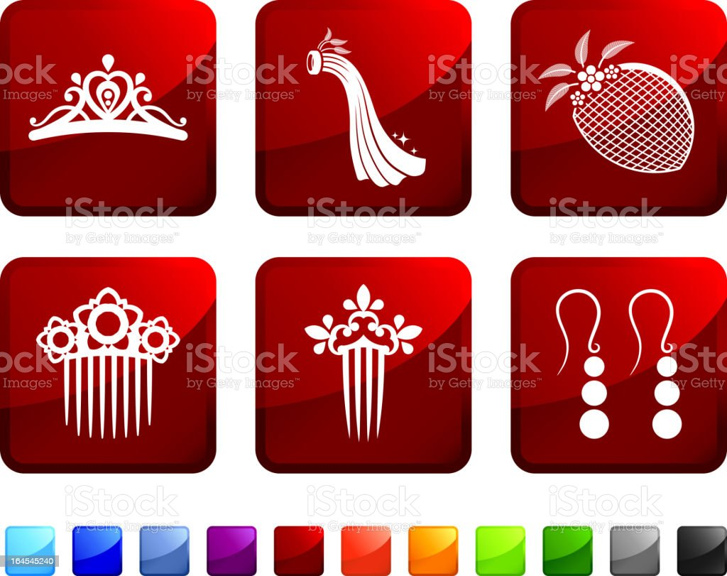 bridal head wear royalty free vector icon set stickers vector art illustration