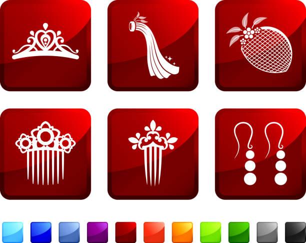 bridal kopf tragen lizenzfreie vektor icon set aufkleber - hochzeitsanstecker stock-grafiken, -clipart, -cartoons und -symbole