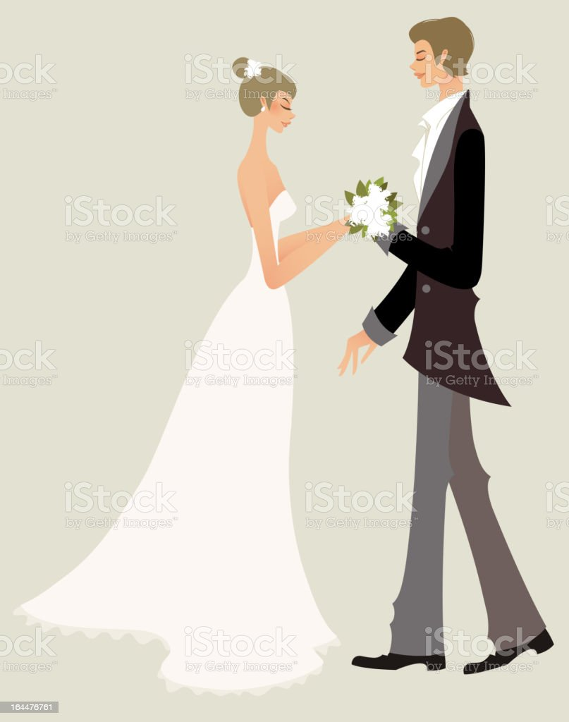 Bride and bridegroom royalty-free stock vector art