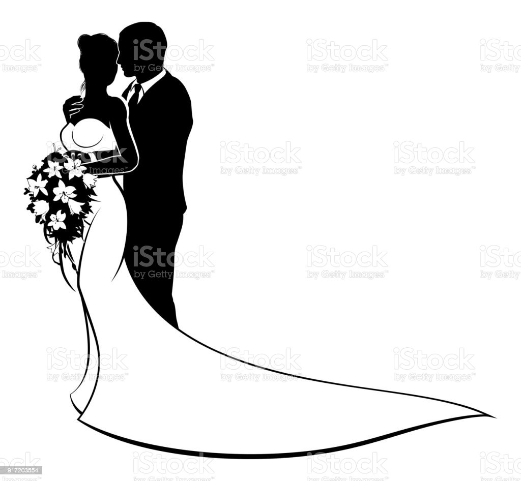 Love Liebe Hochzeit Wedding Silhouette Brautpaar Schwar: Bride And Groom Bouquet Wedding Silhouette Stock Vector