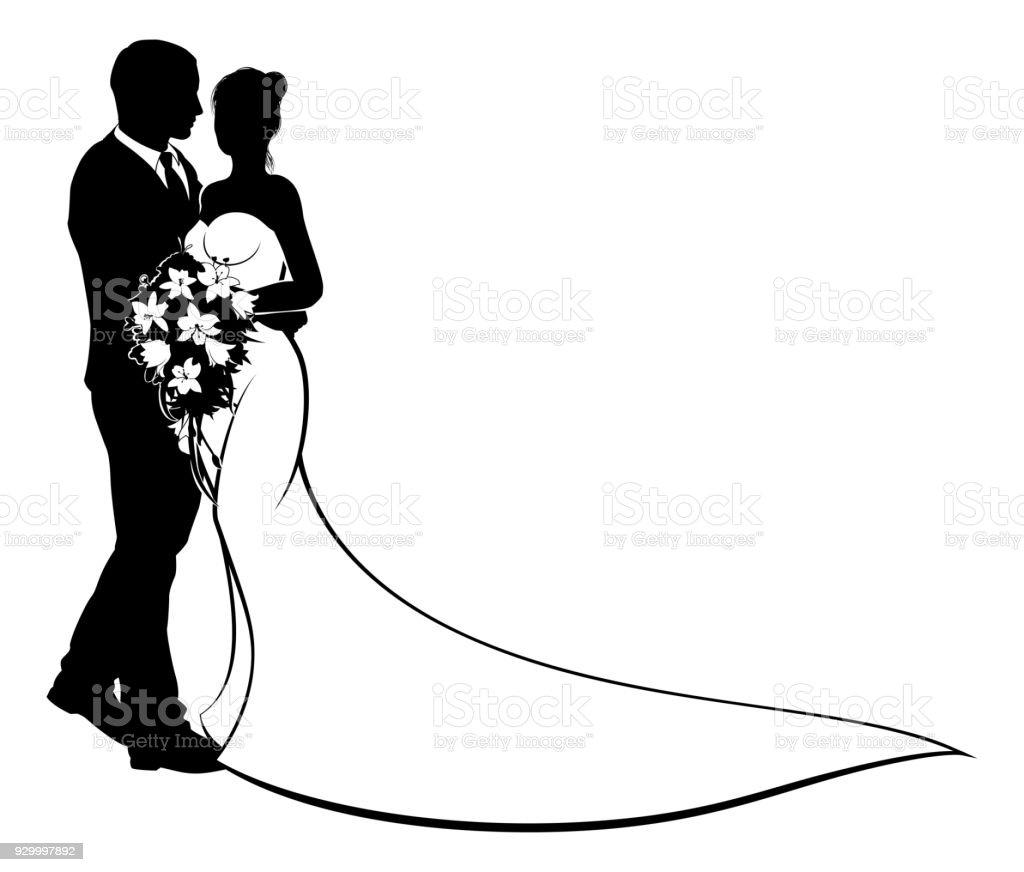 Bride and Groom Silhouette Wedding Concept vector art illustration