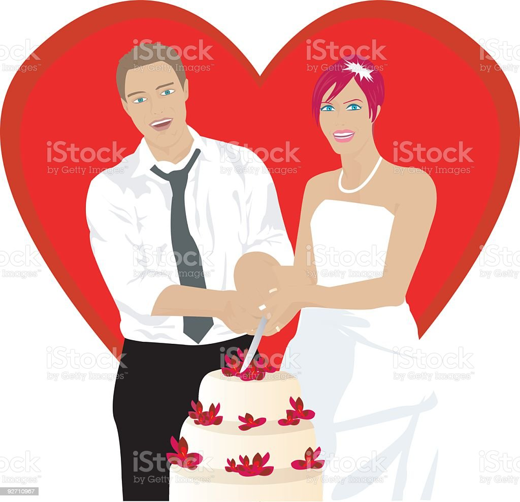 bride, groom and cake at Wedding day royalty-free stock vector art