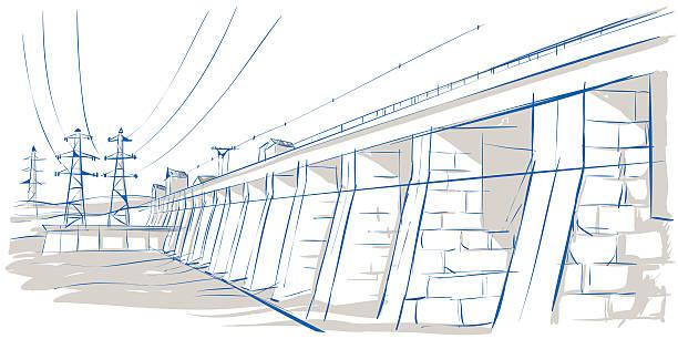bridge and cables vector art illustration