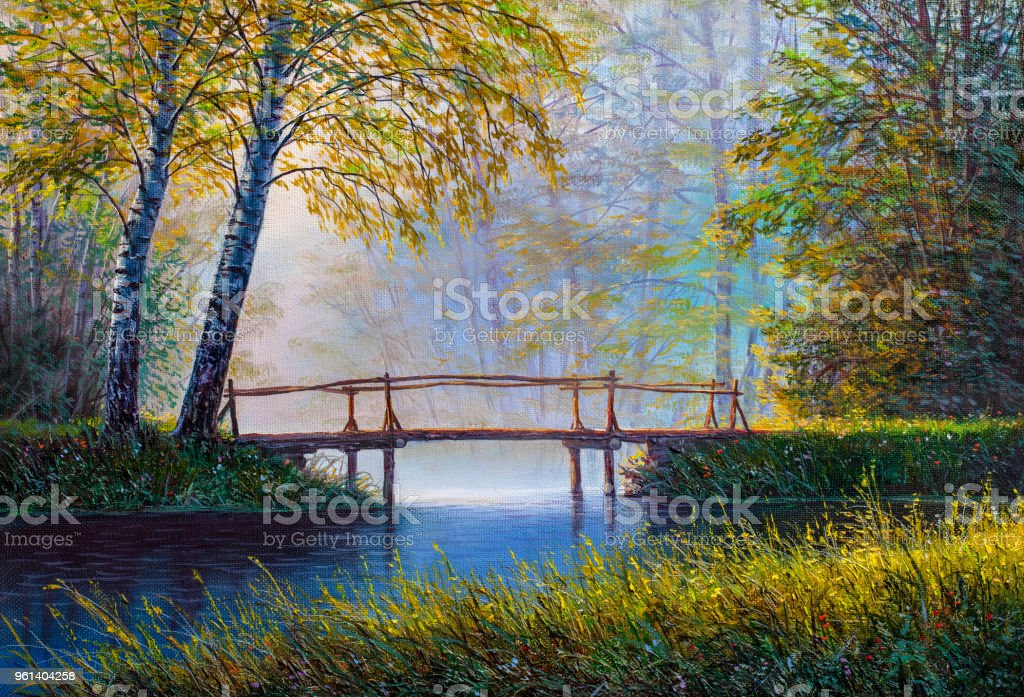 Bridge in the forest. Oil painting on canvas. vector art illustration