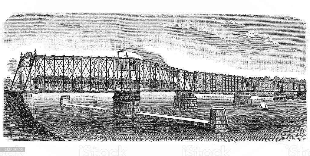 Bridge over Missouri river vector art illustration