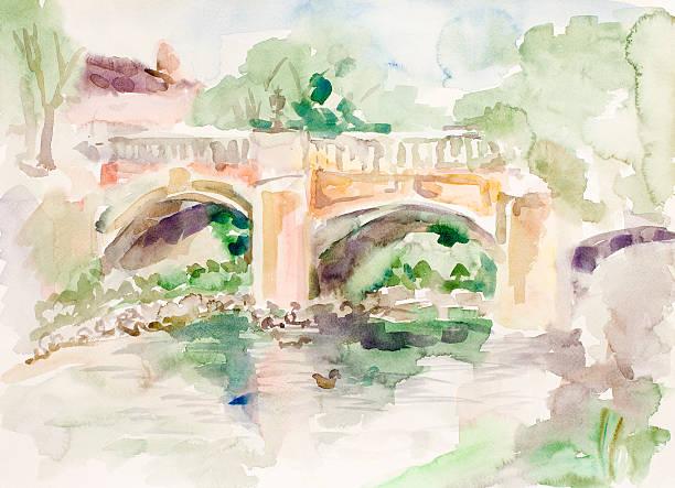 Pont sur étang à l'aquarelle - Illustration vectorielle