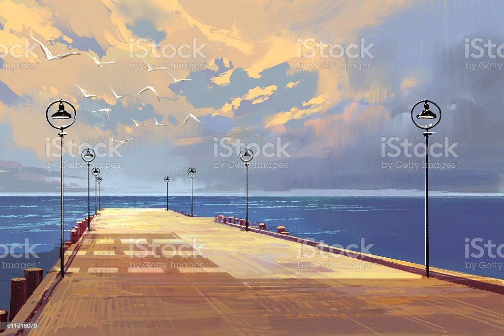 bridge to the sea against beautiful sky vector art illustration