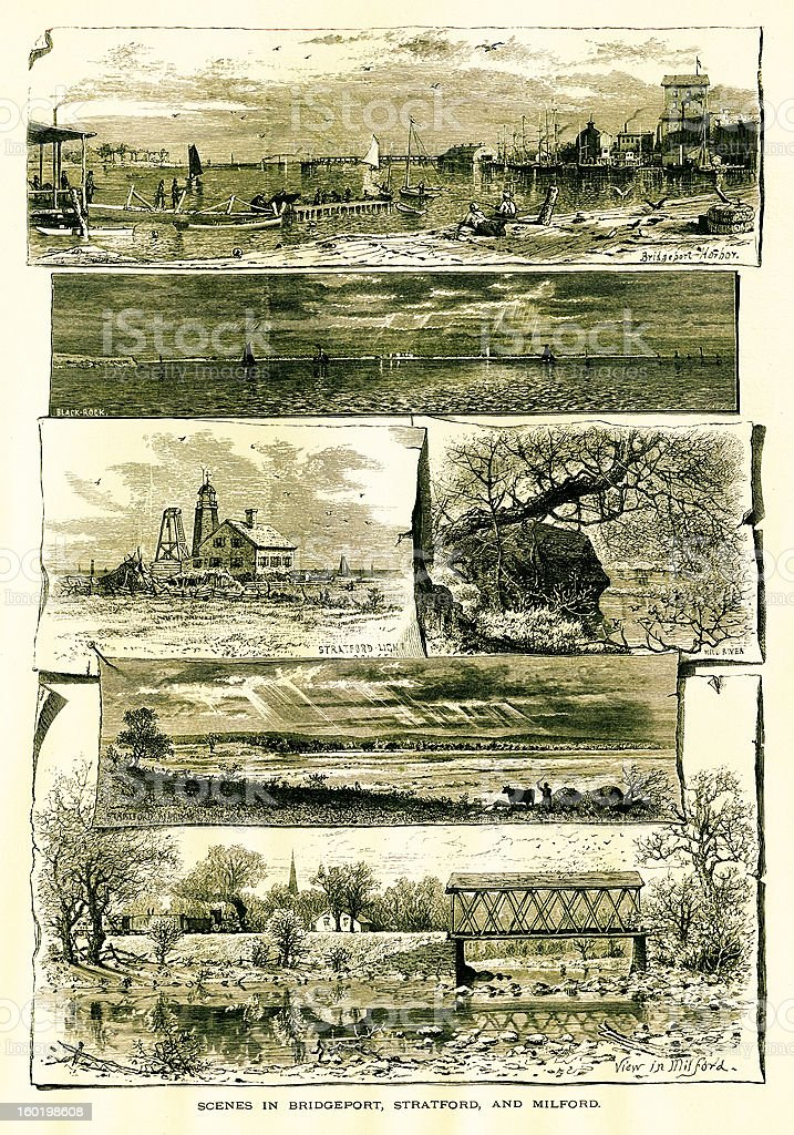 Bridgeport, Stratford, and Milford, Connecticut royalty-free bridgeport stratford and milford connecticut stock vector art & more images of 19th century