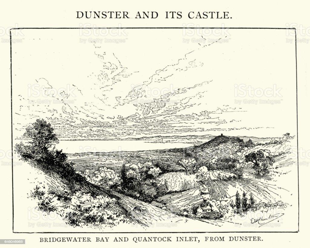 Bridgewater bay and Quantock Inlet vector art illustration