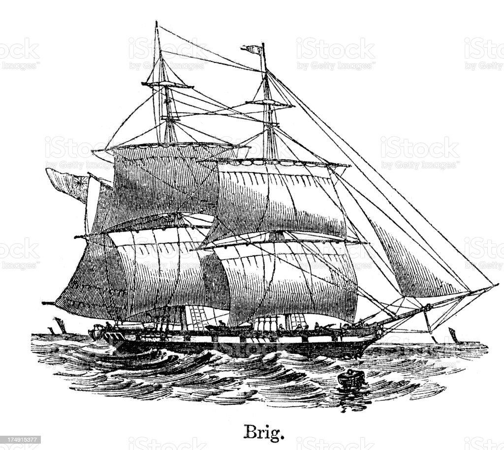 Brig - Historical Ship royalty-free stock vector art