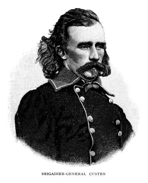 ilustrações, clipart, desenhos animados e ícones de brigadeiro-general george armstrong custer - brigadeiro