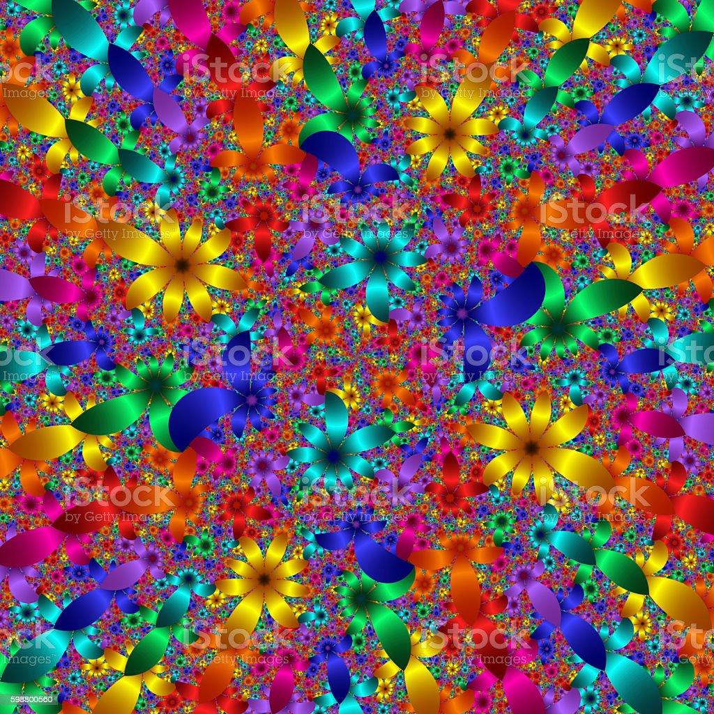 Colourful metallic floral background fractal image vector art illustration