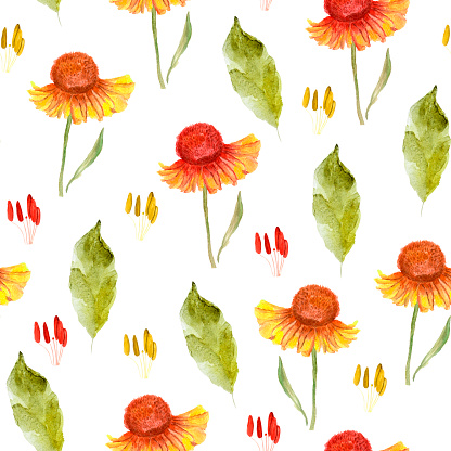 Bright autumn flowers watercolor seamless pattern.