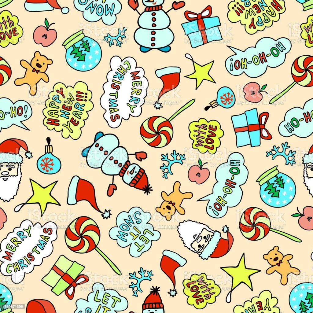 Bright Cartoon Christmas Pattern - Seamless Texture On The Pink Background vector art illustration