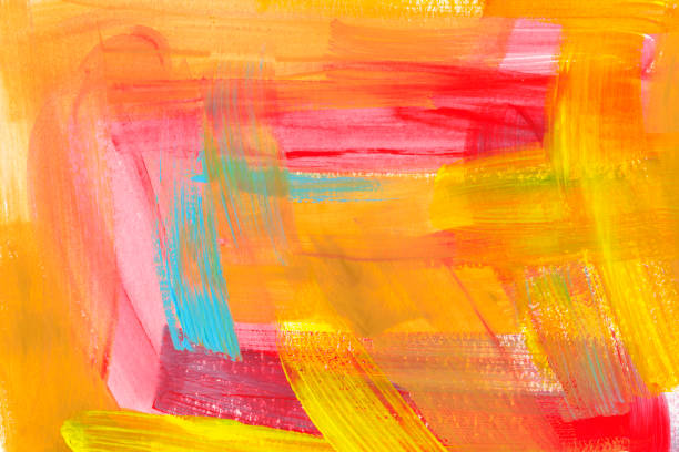 Bright colorful watercolor background. Hand drawn pink, orange, mint and yellow brush strokes. Bright colorful watercolor background. Hand drawn pink, orange, mint and yellow brush strokes. Aquarelle brush strokes, touches, drops and spots drawing wallpaper. Chaotic decorative expressionist artwork. acrylic painting stock illustrations