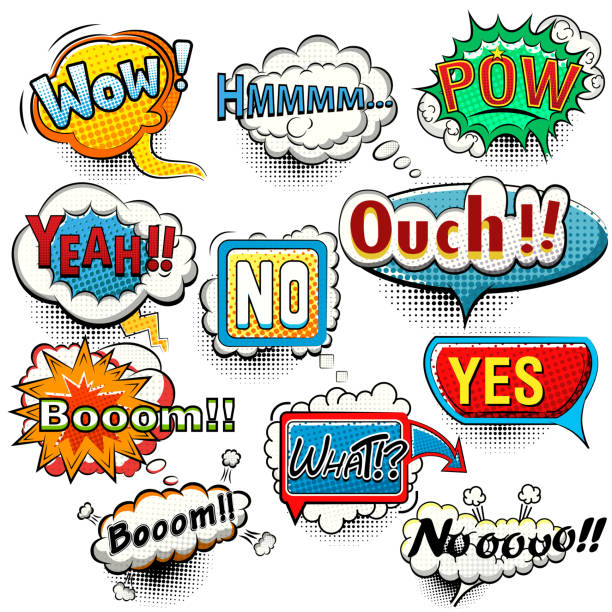Bright comic speech bubbles screams, phrases, sounds illustation vector art illustration