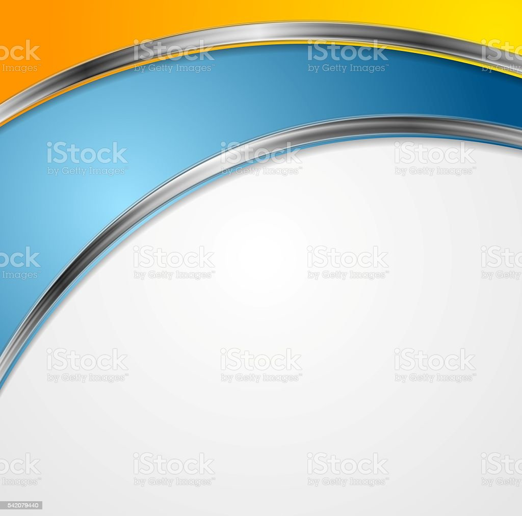 Bright corporate background with silver waves vector art illustration