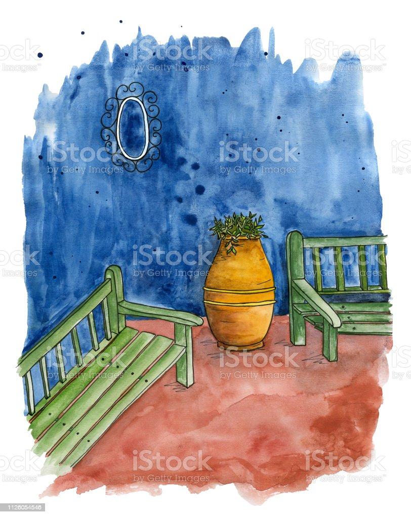 Ilustración De Bosquejo De Este Brillante Terrazas Con