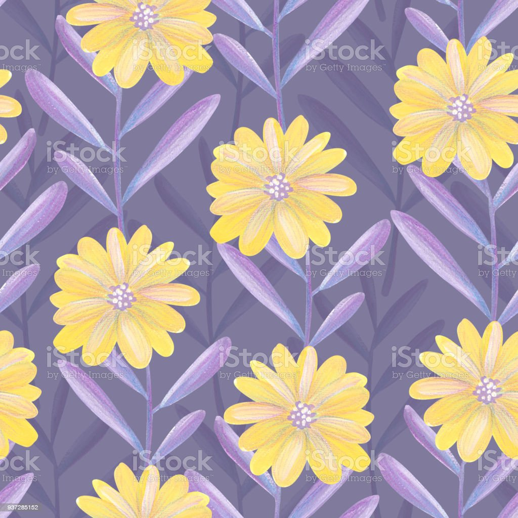 Bright Floral Seamless Design With Purple Leaves And Yellow Flowers