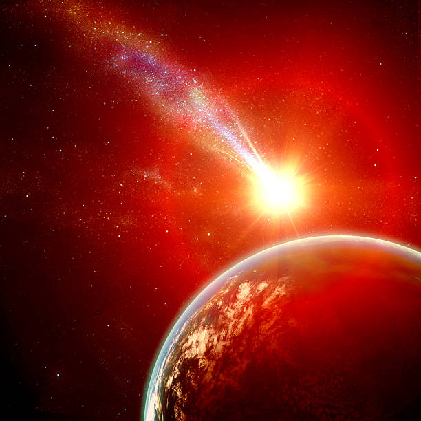 Bright flying asteroid with red glow headed towards Earth vector art illustration