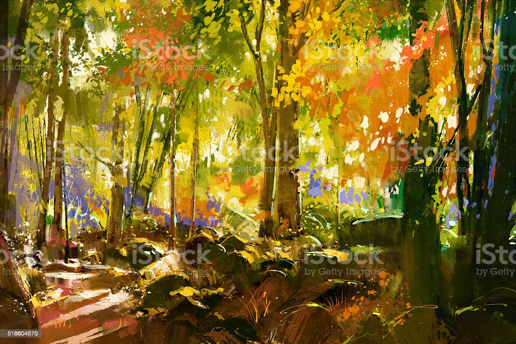 bright forest,beautiful nature in spring - Royalty-free Acrylic Painting stock illustration