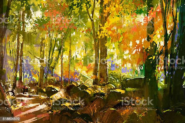 Bright Forestbeautiful Nature In Spring Stock Illustration - Download Image Now