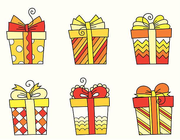 яркие подарочные коробки - four seasons stock illustrations