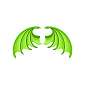 Bright green dragon wings. Attribute of kids masquerade costume. Flat vector element for children book or sticker