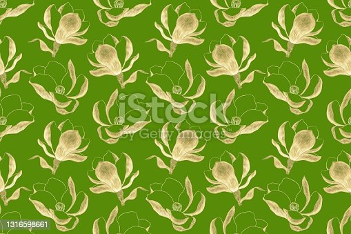 istock Bright, juicy, seamless pattern on light green background, gold illustrations of magnolia flower 1316598661
